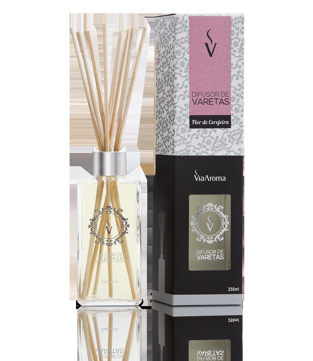 Difusor Ambiente Via Aroma Aromatizador Vareta Stick 250ml Flor de Cerejeira Angulo